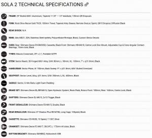 Silverback Sola 2 especificaciones